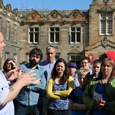 Our guide and Scottish Reformation expert Jimmy speaking about the first martyr Patrick Hamilton, in St Andrews
