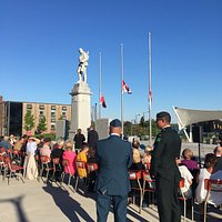 the ceremony held at the Cenotaph in Barrie Hosted by Theatre by the Bay