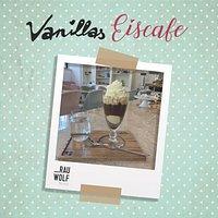Riesiger Wiener Eiscafe mit 2 Kugeln  Vanilleeis und grandiosem Rauwolf Cafe Eiskalt serviert, um heisse € 6,20