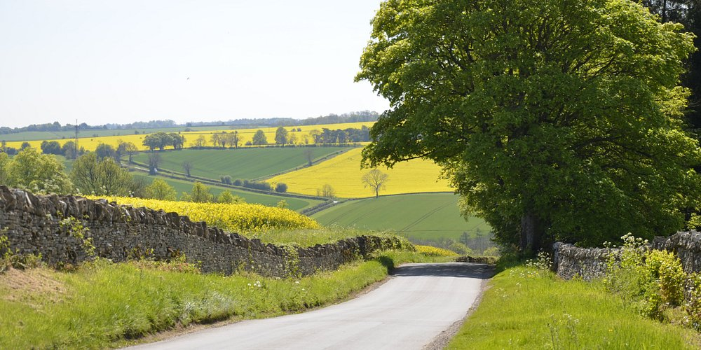 Country road in Cotswolds region near Snowshill.
