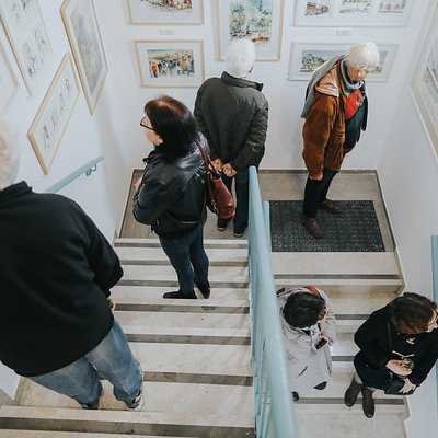 staircase gallery visitors on gallery opening