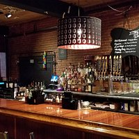 Inviting bar, at Warp & Weft restaurant in Lowell, MA.