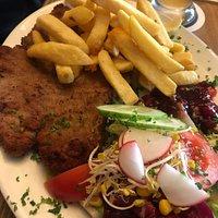 Veal schnitzel, chips, salad