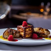 Foie gras with brioche French toast and raspberry sauce