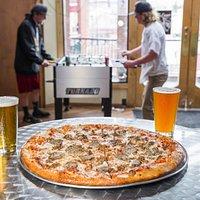 Pizza, beer, games!