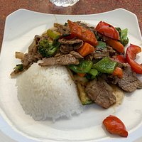 Basil Beef with White Rice