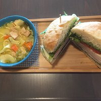 Creamy turkey tetrazzini soup along with a roasted turkey pesto sandwich on a fresh roll. Now that's what I call a great lunch! Everything is homemade and simply  Wonderful 🥰 Highly recommended and prices are very reasonable.