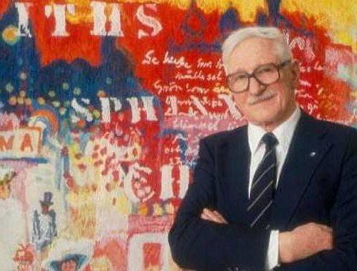 Gösta Werner framför en Taube-inspirerad målning