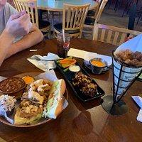 Chicken Po' Boy, smoked wings, shrimp cone.