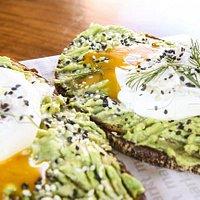 avocado poached eggs toast