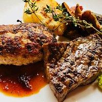 夢咲牛のステーキと至福のハンバーグ