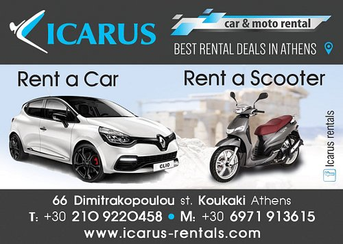 Icarus car and scooter rentals athens is the best and the fastest way to rent and have the best quality time in Greece!