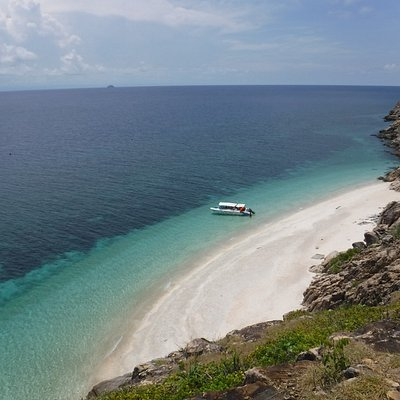 a stunning view down to our most beautiful beach in Con Dao.