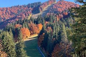 Autumn view of the ski slope