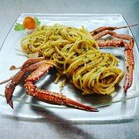 Spaghettone con granchio Nuotatore