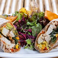 Chicken Salad Wrap with Red Pepper Chutney, Basil & Hazelnuts