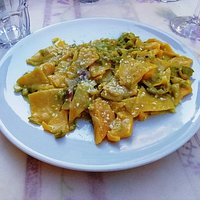 そら豆とグランチャーノ(豚の塩漬け)、ペコリーノのパスタ