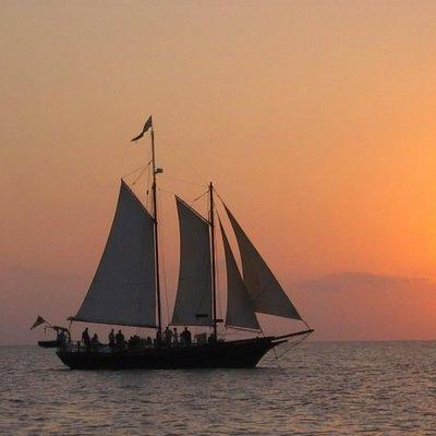 Tall Ship Serenity at sun down