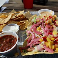 The pork tacos were very good and so was the salsa and queso served with it.