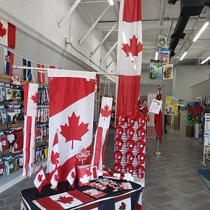 This VERY Canadian display greeted us on arrival at The Flag Shop just prior to Canada Day! Lots of memorabilia here!