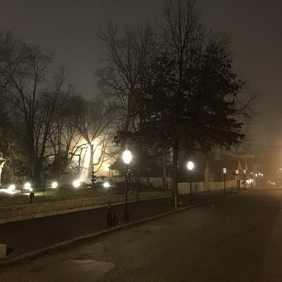 The Lemp Haunted Neighborhood Walking Tour on a foggy night.