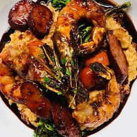 Prawns and Grits with House Made Andouille