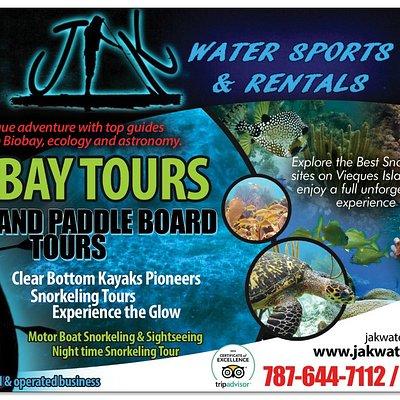 JAK Water Sports  Glass bottom Kayak Bioluminescent Bay Tours, Motor boat Snorkeling Tours, Paddle Board and kayaking Tours, Bike Rental.