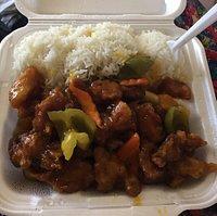 Orange chicken and steamed rice