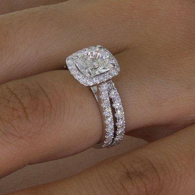 Beautiful matching engagement and wedding ring