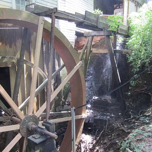 This is the old water wheel that turns the grinding stone.