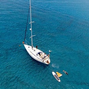 Our Bavaria 39 sailing yacht in Lobos Island. OtiumTravel