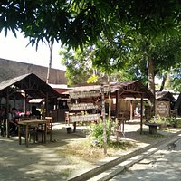 the cafe composed of several huts
