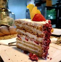 Strawberry rose macaron cake