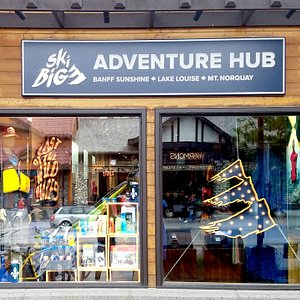 Storefront for the SkiBig3 Adventure Hub at its new location, 114 Banff Ave. (Next to McDonald's)