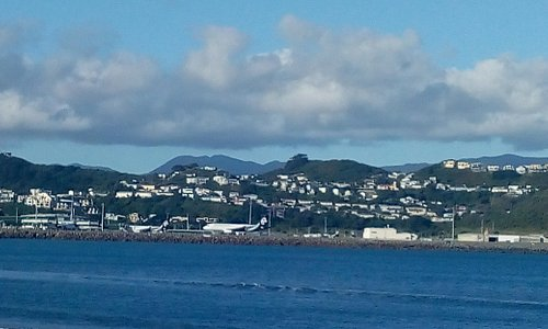 Wellington Airport as seen from Lyall Bay