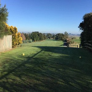 Back nine hole looking out onto the Waikato.  Very inviting drive - stay centre/left.