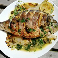 Mediterranean Sea Bream marinated caramelized fennel, buyer caper reduction