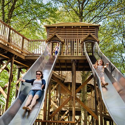The HUGE slides on Sky Maze in Fort Douglas, Dalkeith Country Park. The equipment is suitable for all ages so young adventurers can play with their big people too.