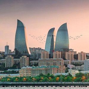 Baku, Azerbaijan. The view of Flame Towers