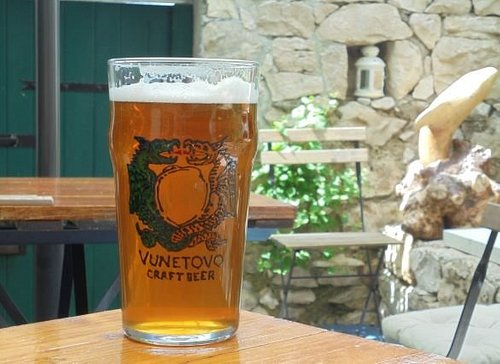 Cold craft beer at our charming terrace.