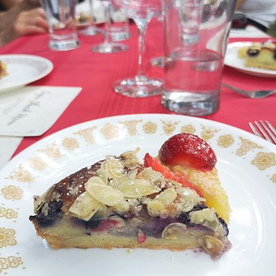 Chef's selection featuring Lemon Tart and Blueberry Frangipane cake with local strawberries