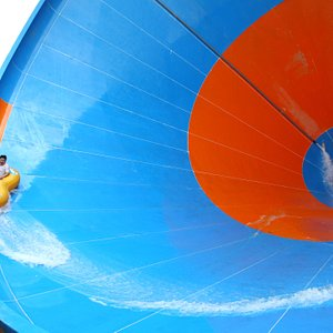 Get your adrenaline rush going on the 7-storey high funnel Tornado.