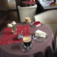 Coffee and cake at he inside seating