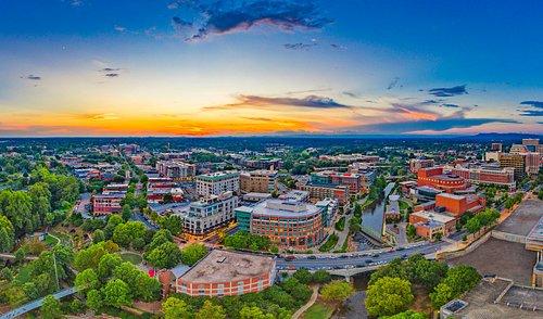 Sunset over yeahTHATgreenville South Carolina