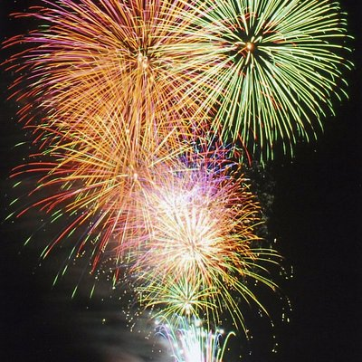 This is a marine fireworks display adorning the sky and the Toba Bay.