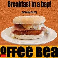 Breakfast in a bap, eat in or takeaway!