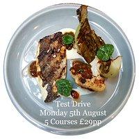 Monday 5th August Test Drive Menu