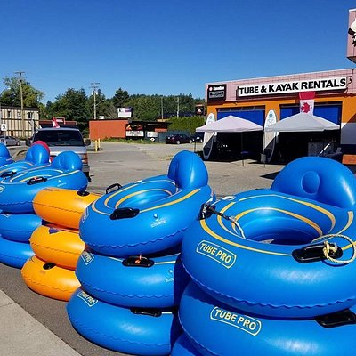 Our store front showing off our river tubes on a beautiful day.