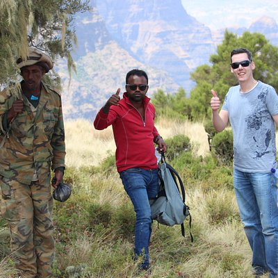 With our customers during their Northern and Southern Ethiopia Eco friendly Trekking and community based tourism tour around the Simien mountain Trekking!