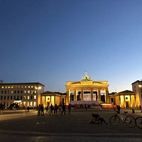 The platz and gate at twilight